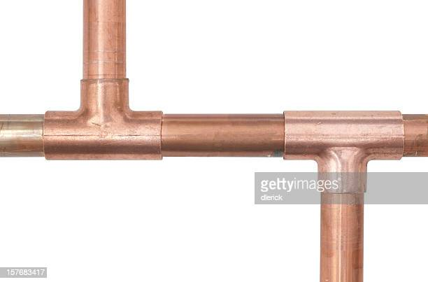 copper water line branching in opposite directions