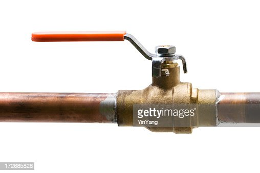 Copper Water Pipe Shut Off Valve Isolated On White