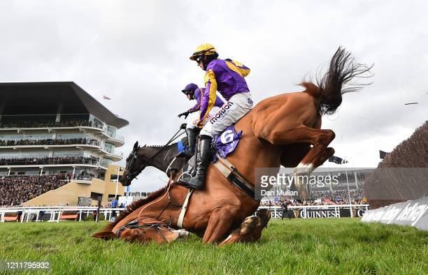 Copperhead ridden by Harry Cobden and Easy Game ridden by Danny Mullins fall during the RSA Insurance Novices' Chase at Cheltenham Racecourse on...