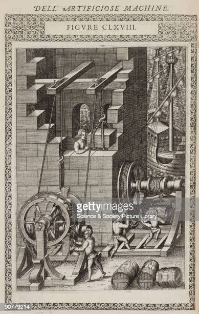 Copperplate engraving from �Le diverse et artificiose machine� by Agostino Ramelli published in Paris in 1588 Ramelli served as an engineer under the...