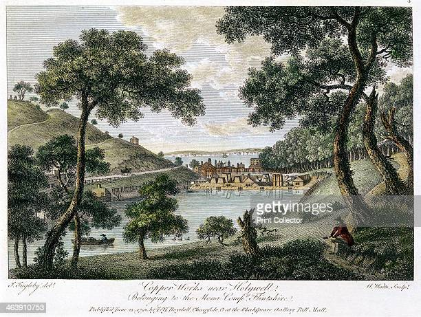 Copperworks near Holywell, Flintshire, Wales owned by the Mona Company, 1792. Illustration showing industrialisation in the rural landscape. Copper...