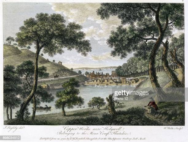 Copperworks near Holywell Flintshire Wales owned by the Mona Company showing industrialisation in rural landscape Copper was mined in Angelsey Hand...