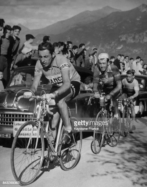 Coppi Bobet et Robic en action sur le col de Ghisallo en Italie en 1952