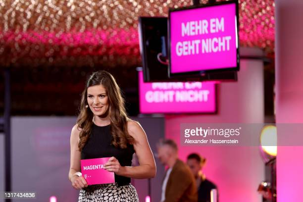 Co-Presenter Amelie Stiefvatter poses during the Magenta TV EURO 2020 Media Day at Allianz Arena on May 11, 2021 in Munich, Germany.
