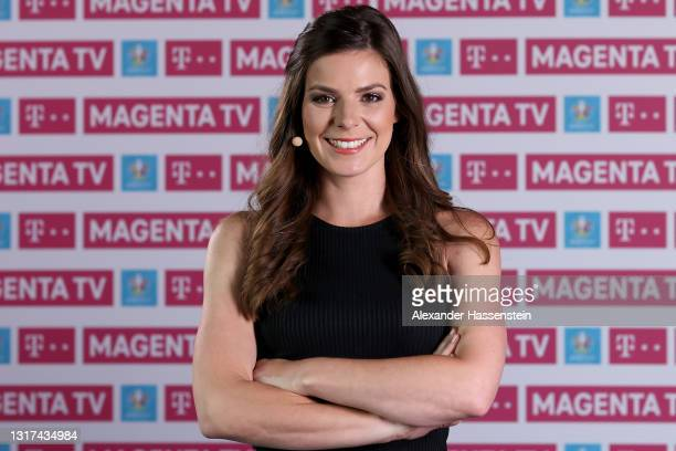 Co-Presenter Amelie Stiefvatter poses during the the Magenta TV EURO 2020 Media Day at Allianz Arena on May 11, 2021 in Munich, Germany.