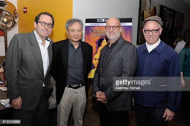 CoPresident and CoFounder of Sony Pictures Classics Michael Barker director Ang Lee moderator Joe Neumaier and screenwriter James Schamus pose...