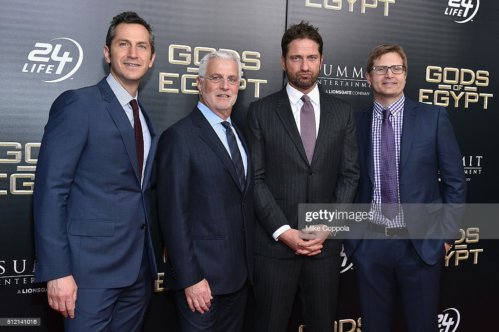 Co-President at Lionsgate Motion Picture Group Erik Feig, Co-chairman at Lionsgate Motion Picture Group Rob Friedman, actor Gerard Butler, and President of Production, Lionsgate Entertainment at Lionsgate Motion Picture Group Geoff Shaevitz attend the 'Gods Of Egypt' New York Premiere at AMC Loews Lincoln Square 13 on February 24, 2016 in New York City.