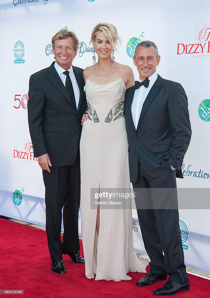 Co-President Dizzy Feet Foundation, Nigel Lythgoe, actress Jenna Elfman and Co-President Dizzy Feet Foundation, Adam Shankman arrive at the 4th Annual Celebration Of Dance Gala Presented By The Dizzy Feet Foundation at Dorothy Chandler Pavilion on July 19, 2014 in Los Angeles, California.