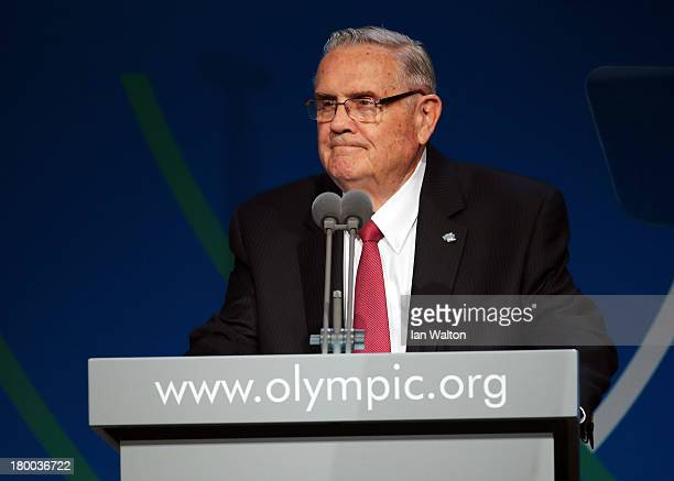 CoPresident Don Porter speaks during a World Baseball Softball Confederation presentation during the 125th IOC Session New Sport Announcement at the...