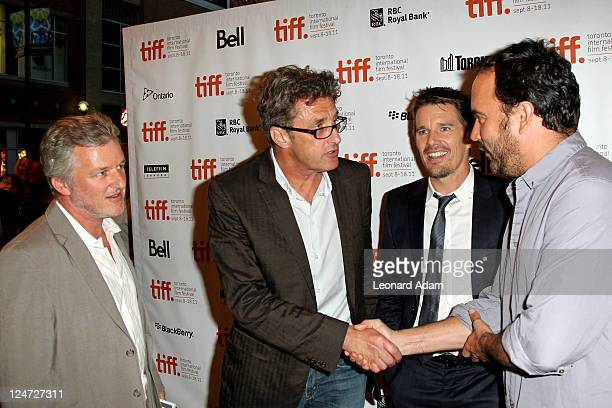 Copresident of ATO Pictures Johnathan Dorfman director Pawel Pawlikowski actor Ethan Hawke and musician/actor Dave Matthews attend the premiere of...