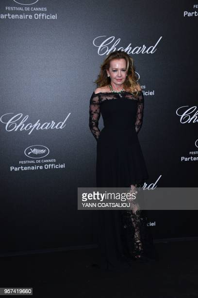 CoPresident of Chopard Germany's Caroline Scheufele poses as she arrives on May 11 2018 for the Chopard Gentlemen's party on the sidelines of the...
