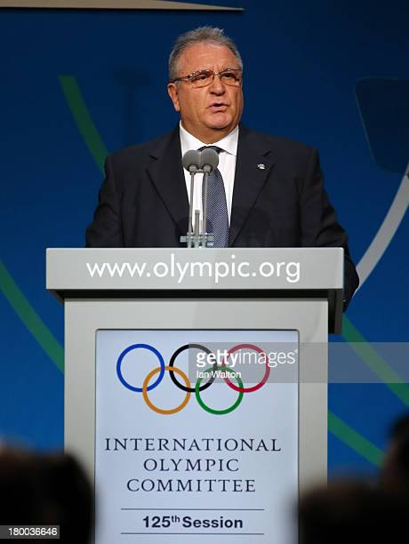 CoPresident Riccardo Fraccari speaks during a World Baseball Softball Confederation presentation during the 125th IOC Session New Sport Announcement...