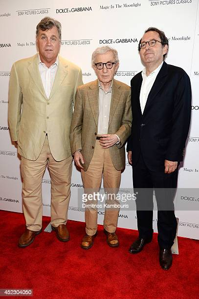 CoPresidents and CoFounders of Sony Pictures Classics Michael Barker and Tom Bernard pose with Woody Allen at the Magic In The Moonlight premiere at...