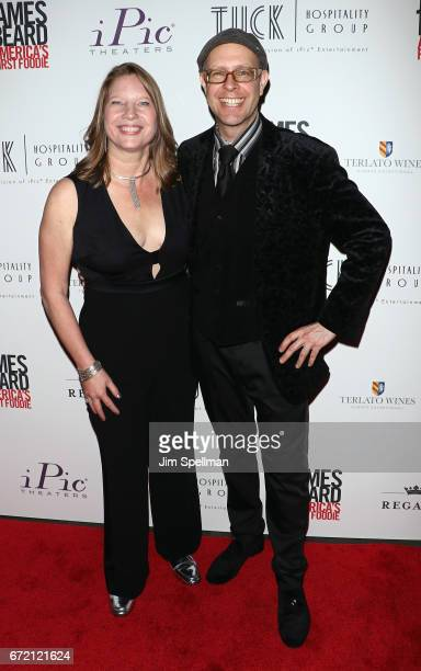 """Co-producer Kathleen Squires and Adam Seger attend the """"James Beard: America's First Foodie"""" NYC premiere at iPic Fulton Market on April 23, 2017 in..."""