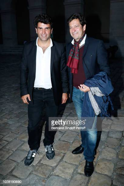 CoProducer of the event Tristan Duval and Laurent Gerra attend the Carmen Opera en Plein Air performance at Les Invalides on September 5 2018 in...