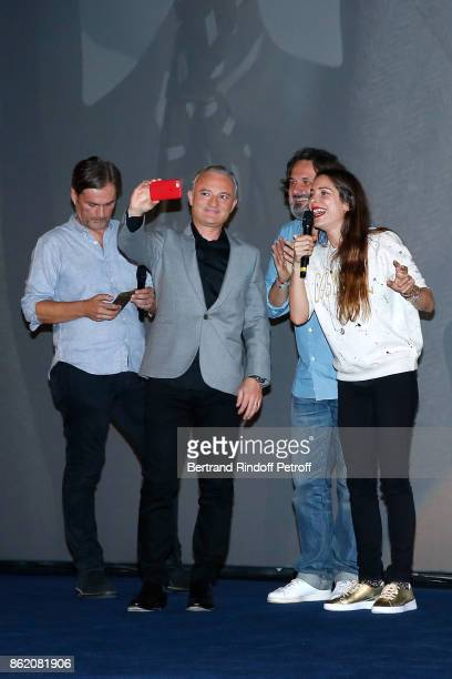 Coproducer of the movie Marc Missonnier Stephane Celerier coproducer of the movie Olivier Delbosc and actress of the movie Audrey Dana make a selfie...