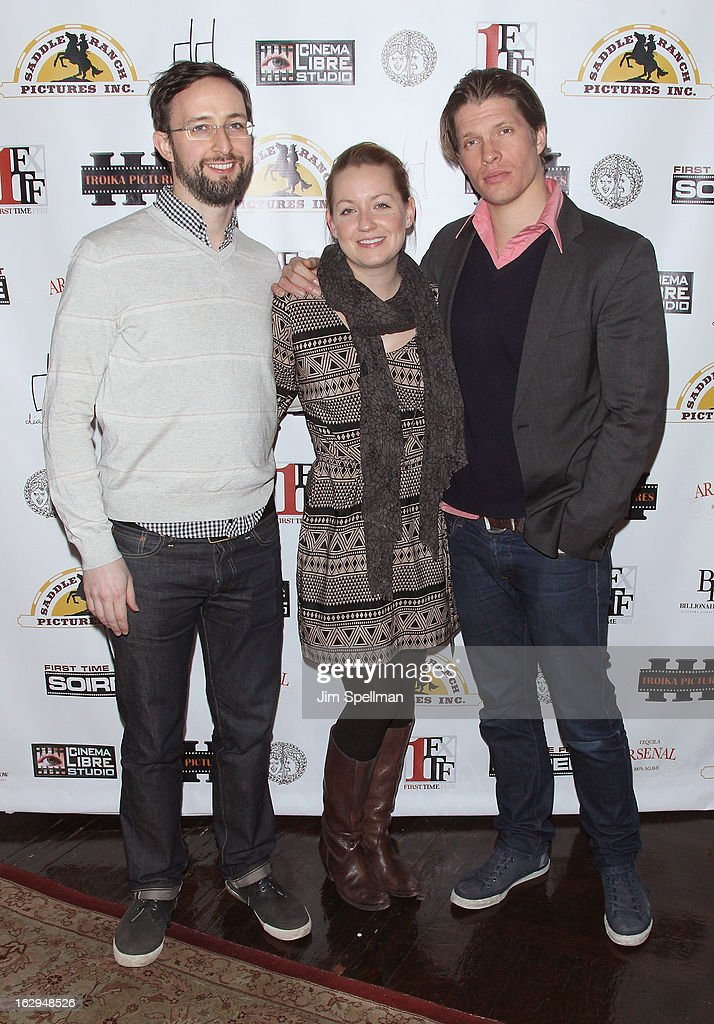 Co-Producer Ryan Young, production designer Marie Lynn Wagner and actor/producer Alexander Cendese from the movie 'Blumenthal' attend the opening night party for the 2013 First Time Fest at The Players Club on March 1, 2013 in New York City.