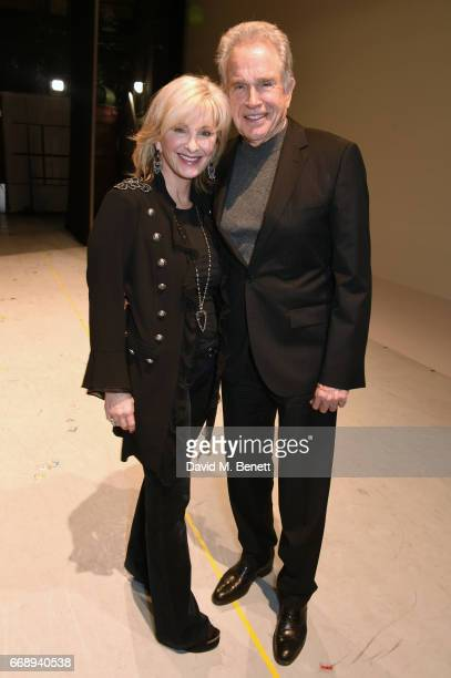 """Co-producer Sybil Robson Orr and Warren Beatty pose backstage at the West End production of """"An American In Paris"""" at the Dominion Theatre on April..."""