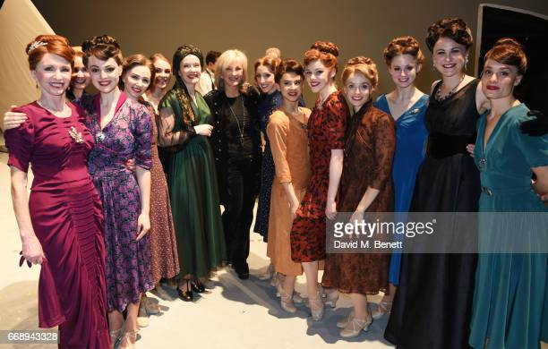 """Co-Producer Sybil Robson Orr poses backstage with cast members of the West End production of """"An American In Paris"""" at the Dominion Theatre on April..."""