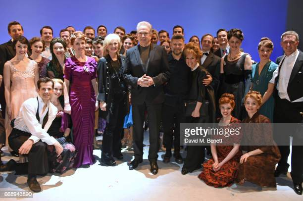 CoProducer Sybil Robson Orr Warren Beatty Andy Serkis and Lorraine Ashbourne pose backstage with cast members including Robert Fairchild Zoe Rainey...