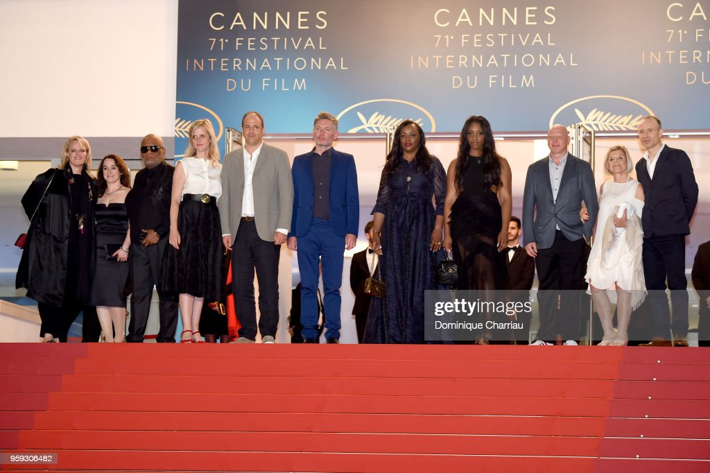 Co-producer Vanessa Tovell, Ulysses Carter, producers Lisa Erspamer, Jonathan Chinn, director Kevin Macdonald, executive producer Pat Houston, Rayah Houston, producer Jonathan Chinn, executive producer Nicole David and editor Sam Rice-Edwards attend the screening of 'Whitney' during the 71st annual Cannes Film Festival at Palais des Festivals on May 16, 2018 in Cannes, France.