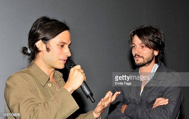 Coproducers Gael Garcia Bernal and Diego Luna speak onstage the 'Miss Bala' Premiere at Scotiabank during the 2011 Toronto International Film...