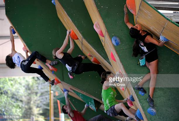 Professional women climbers from around the world compete in the IFSC Bouldering World Cup semi-finals at the 10th annual Teva Mountain Games in Vail...