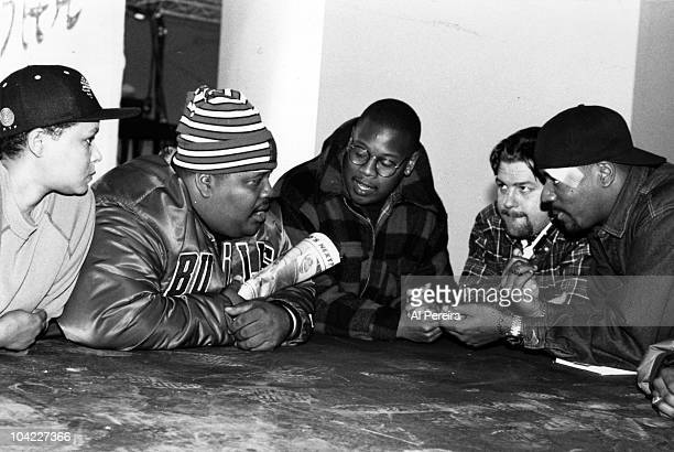"""Co-proudcer Maynell Thomas, Doctor Dre' , Andre Harrell, director Ted Demme and rapper Ed Lover discuss the """"Who's The Man"""" Soundtrack in 1989 in New..."""