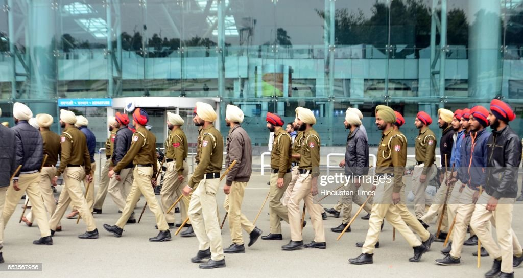 Cops at Airport during suspected bag which was found in the parking of Sri Guru Ram Das Ji International Airport on March 15 2017 in Amritsar India...