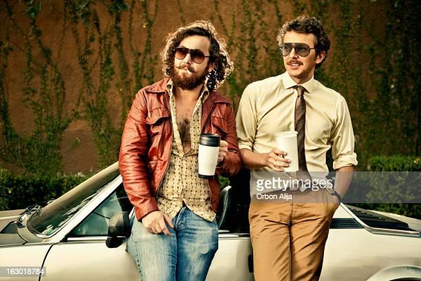 Citizens mit retro-Stil mit Kaffee