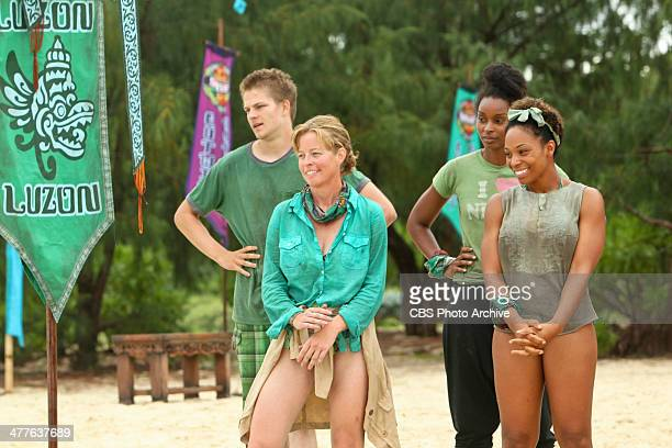 'CopsRUs' Spencer Bledsoe Kassandra 'Kass' McQuillen J'Tia Taylor and Latasha 'Tasha' Fox of the Brains Tribe during the second episode of SURVIVOR...
