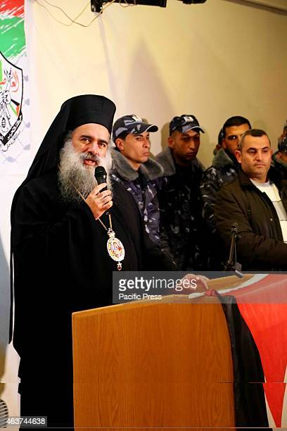 Coptic Christian priest speaks at a vigil gathering for the slain victims of the latest ISIS terror killings in Bethlehem West Bank Following another...
