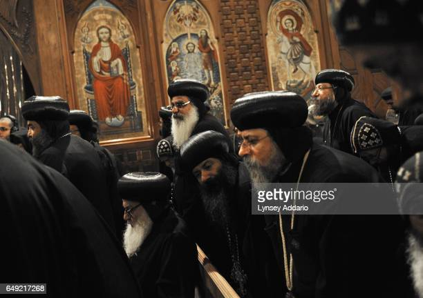Coptic Christians listen to Pope Shenouda III the leader of the Coptic Christians in Egypt at a Church in Cairo Egypt Nov 3 2010 The Christian...