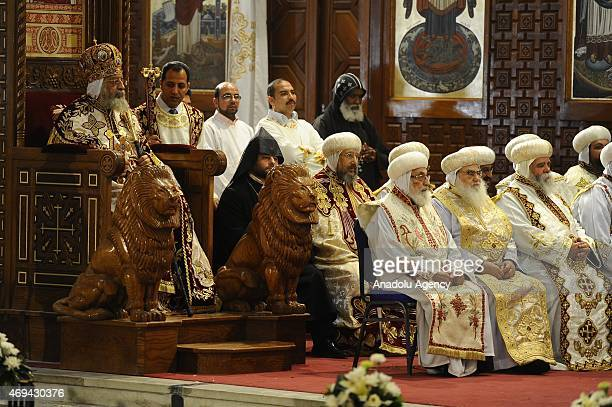 Coptic Orthodox Pope Tawadros II leads the Easter mass at St Mark's Cathedral in Cairo Egypt on April 11 2015