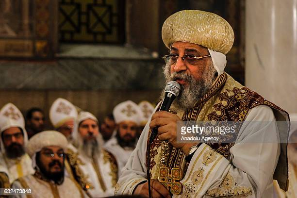 Coptic Pope Tawadros II officiates a mass in memory of the victims of the explosion at Saint Peter and Saint Paul Coptic Orthodox Church on the 40th...
