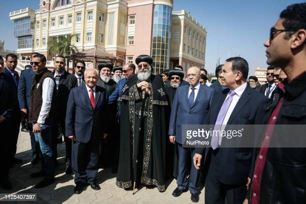 Coptic Pope Tawadros II with the President of the British University in Egypt during his visit to it, 16 February 2019, Cairo, Egypt.