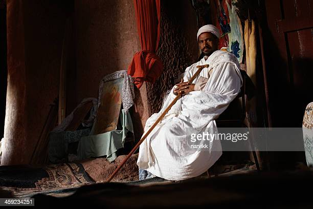 coptic priest at lalibela - ethiopian orthodox church stock pictures, royalty-free photos & images