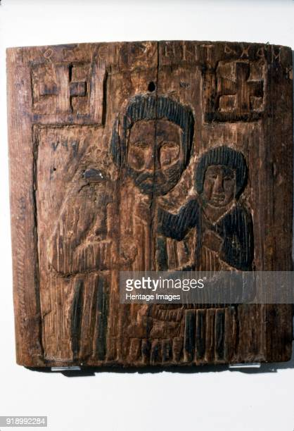 Coptic Wood Panel Joseph carrying the Infant Jesus 6th7th century Egyptian at Coptic Museum Cairo Artist Unknown