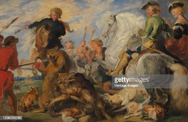 Copy after Rubens's Wolf and Fox Hunt circa 182426 Artist Edwin Henry Landseer
