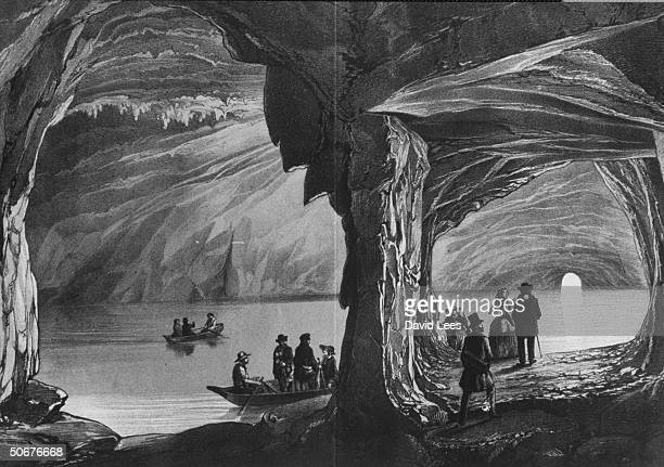 Copy of 19th c color engraving of Blue Grotto by Winckelmann and sons