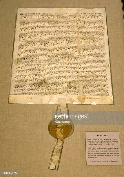 A copy of a 1297 version of Magna Carta is on display during a press viewing at the National Archives March 3 2008 in Washington DC The Magna Carta...