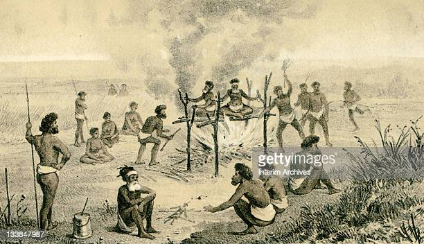 Copy of a color lithograph illustrating the scaffold burial custom among Australian aborigines 1881 Lithograph by T Sinclair Son