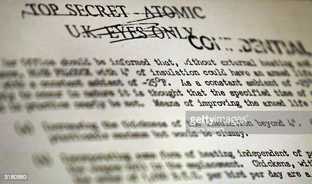 A copy of a document is seen on display describing the research of a seven tonne nuclear landmine codenamed 'Blue Peacock' at an exhibition of secret...