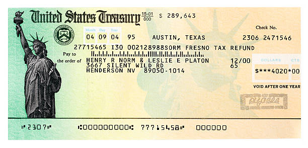 Copy Of A Fictitious United States Treasury Refund Check