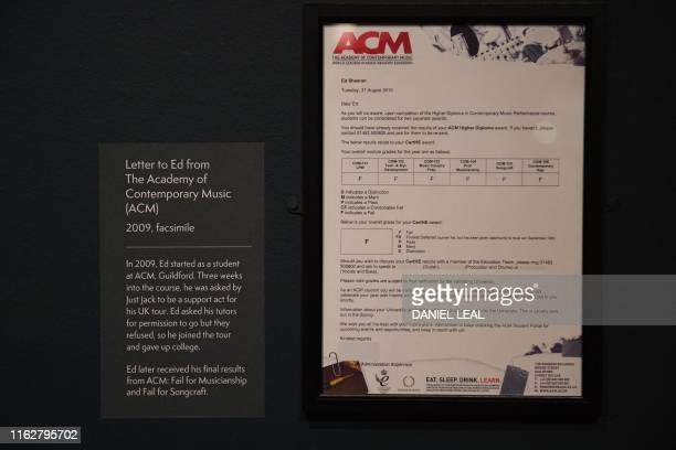 A copy of a letter to the British musician Ed Sheeran from The Academy of Contemporary Music showing his failed course results is pictured during a...