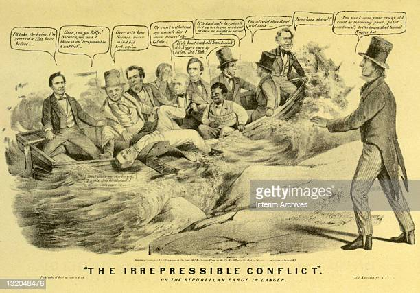 Copy of a lithograph titled 'The Irrepressible Conflict' showing the Republican Party during the election of 1860 struggling over the topic of...