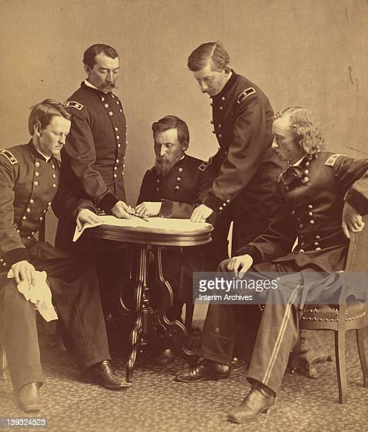Copy of a photograph showing a group portrait of Union Army generals from left Wesley Merritt Philip Sheridan George Crook James William Forsyth and...