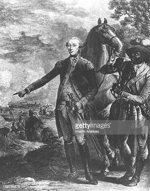 A copy of an engraving by Noel le Mire showing the Marquis de Lafayette directing American troops during the battle of Yorktown as James Armistead a...