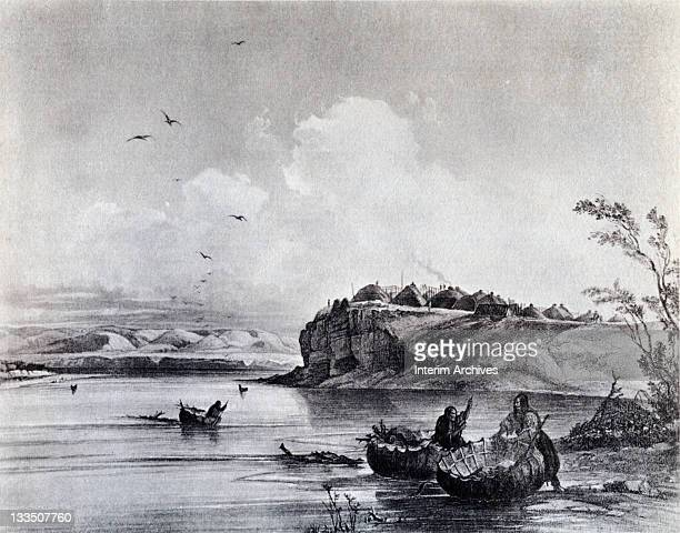 Copy of an illustration of a Mandan village as portrayed by artist Carl Bodmer in 1833 It was in a similar Mandan settlement that Lewis and Clark met...