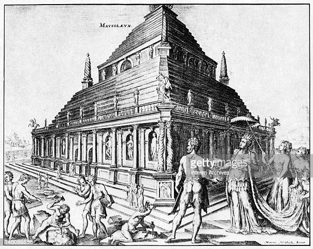 Copy of an illustration of the Mausoleum at Halicarnassus one of the Seven Wonders of the Ancient World from an engraving by Martin Heemskerck 1572